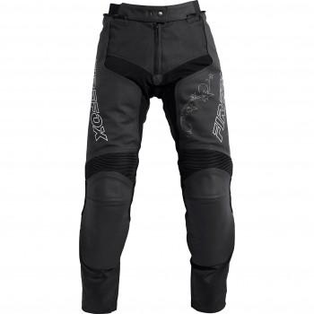 Damskie skórzane spodnie sportowe z wstawkami tekstylnymi i panelami elastycznymi.
