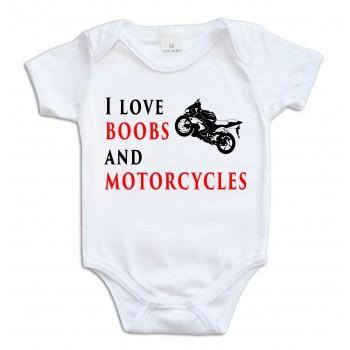 """Body """"I love boobs & motorcycles"""" rozmiar 74, krótki rękaw"""
