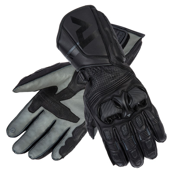 Rebelhorn ST Long - black/grey - sportowe rękawice motocyklowe ze skóry z kangura