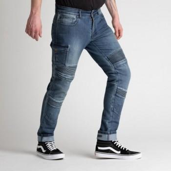 jeansy motocyklowe w wypinanym kevlarem i protektorami coolmax cordura Broger Ohio washed blue