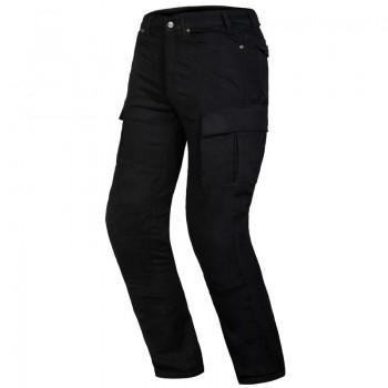 Jeansy motocyklowe w bojówkowym stylu z podszyciem kevlarowym i protektorami