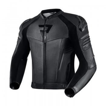Skórzana, wygodna kurtka sportowa bez garba, z dodatkową kamizelką softshell